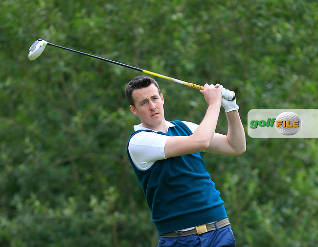 Kevin O'Donovan (Lee Valley) on the 12th tee during the Semi-Finals of the Munster Bruen &amp; Shield Finals at East Clare Golf Club on Sunday 19th July 2015.<br /> Picture:  Golffile | Thos Caffrey All photo usage must carry mandatory copyright credit (&copy; Golffile | Thos Caffrey)