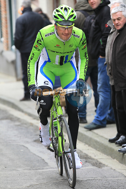 Riders including Edward King (USA) Cannondale Pro Cycling climb Casselberg for the 2nd time passing through the old town of Cassel during the 75th edition of Gent-Wevelgem, France, 24th  March 2013 (Photo by Eoin Clarke 2013)