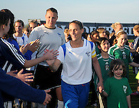 Boston Breakers  midfielder Kristine Lilly (13) enters the stadium.  Boston Breakers defeated Washington Freedom 3-1 at The Maryland SoccerPlex, Saturday April 18, 2009.