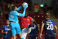 Nottingham Forest goalkeeper, Arljanet Muric makes a fine save to foil Charlton's Naby Sarr during Charlton Athletic vs Nottingham Forest, Sky Bet EFL Championship Football at The Valley on 21st August 2019