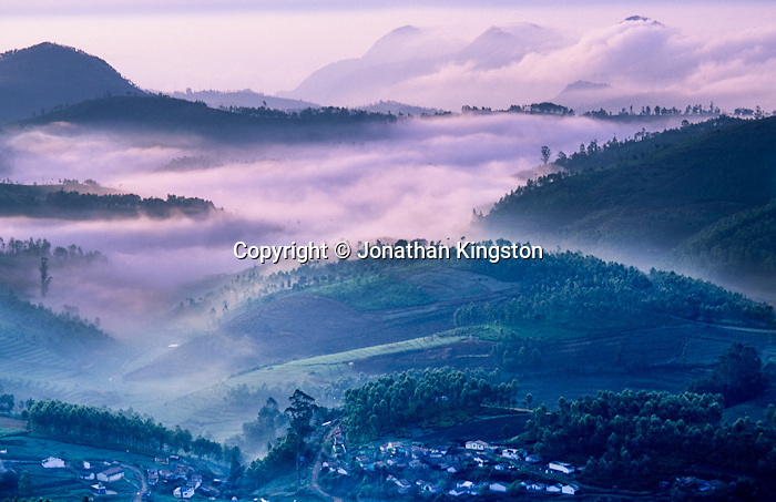 Ketti Valley at sunrise, Western Ghats, Tamil Nadu, India.