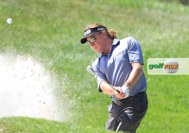 Miguel Angel Jimenez (ESP) on the 18th during Round 3 of the Open de Espana  in Club de Golf el Prat, Barcelona on Saturday 16th May 2015.<br /> Picture:  Thos Caffrey / www.golffile.ie