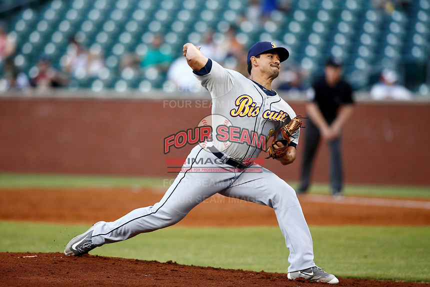Montgomery Biscuit pitcher Roel Ramirez (19) in action during the game against the Chattanooga Lookouts on May 26, 2018 at AT&T Field in Chattanooga, Tennessee. (Andy Mitchell/Four Seam Images)