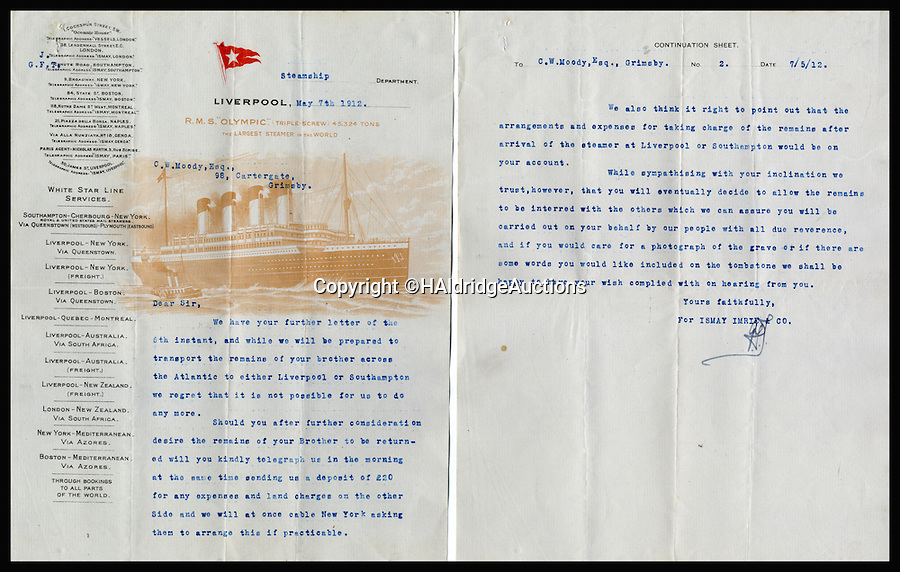 BNPS.co.uk (01202 558833)<br /> Pic: HAldridgeAuctions/BNPS<br /> <br /> *Please use full byline*<br /> <br /> The letter.<br /> <br /> A shocking letter revealing the owners of the Titanic demanded huge sum's of money from the bereaved relatives to return the bodies of its dead crew has come to light on the 103rd anniversary of the disaster.<br /> <br /> The astonishing demands have emerged for the first time since the tragedy in a never-seen-before letter from bosses at White Star Line to the grieving family of James Moody, Titanic's sixth officer.<br /> <br /> Moody, 24, was among the 1,500 crew and passengers that perished when the ship sank after hitting an iceberg in the Atlantic on April 14 1912, two days into her maiden voyage.<br /> <br /> In the sensational letter written less than a month after the sinking, his brother Christopher was told his body could be transported from New York back to his home town of Scarborough at a cost of £20 - more than £2,000 in today's money.<br /> <br /> Experts say the two-page letter could make £25,000 when it goes under the hammer at Henry Aldridge and Son of Devizes, Wilts.