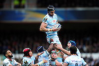 Luke Charteris of Racing 92 claims the ball. European Rugby Champions Cup semi final, between Leicester Tigers and Racing 92 on April 24, 2016 at The City Ground in Nottingham, England. Photo by: Patrick Khachfe / JMP
