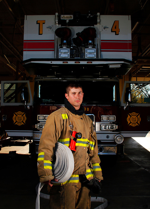"Bowling Green, KY FireFighter Mark Carver, 27 years old, was hired 3 1/2 years ago. ""My dad was a fire fighter. I hated working in a cubicle and my dad suggested I apply, I did, and three years later they called me. It's as good a job a person could ask for"", says Carver."