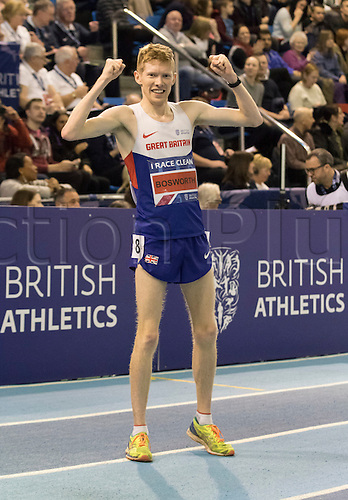 28.02.2016. EIS Sheffield, Sheffield, England. British Indoor Athletics Championships Day Two. Tom Bosworth (Tunbridge) celebrates after winning the 3,000m Walk British Title.