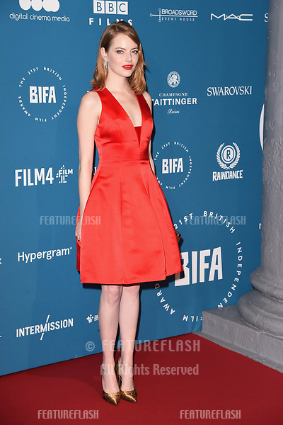 LONDON, UK. December 02, 2018: Emma Stone at the British Independent Film Awards 2018 at Old Billingsgate, London.<br /> Picture: Steve Vas/Featureflash