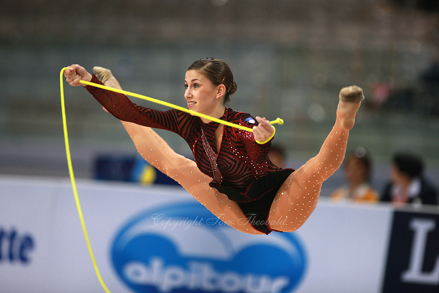 Mojca Rode of Slovenia straddle jumps during seniors All-Around competition at 2008 European Championships at Torino, Italy on June 6, 2008.  Photo by Tom Theobald.