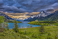 Fine Art Print Mountain Scenic of The Prince of Wales Hotel at Waterton Lakes National Park situated amongst the mountains and foothills in southern Alberta, Canada.  A world heritage site.