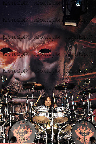 Judas Priest - drummer Scott Travis performing live on Day One on the Main Stage at the 2008 Download Festival at Donington Park UK - 13 Jun 2008.  Photo by: George Chin/IconicPix