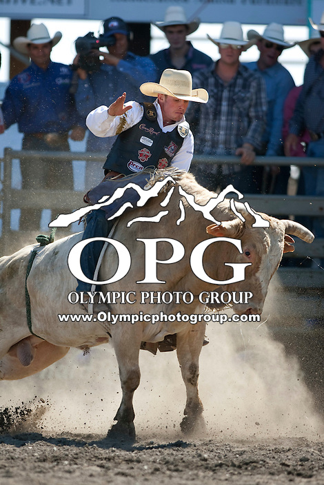 28 Aug 2011:  Steve Woosley scored a 64 while riding the bull Riff Raff in the Seminole Hard Rock Extreme Bulls competition  held at the Kitsap County Fair and Stampede Rodeo in Bremerton, Washington.