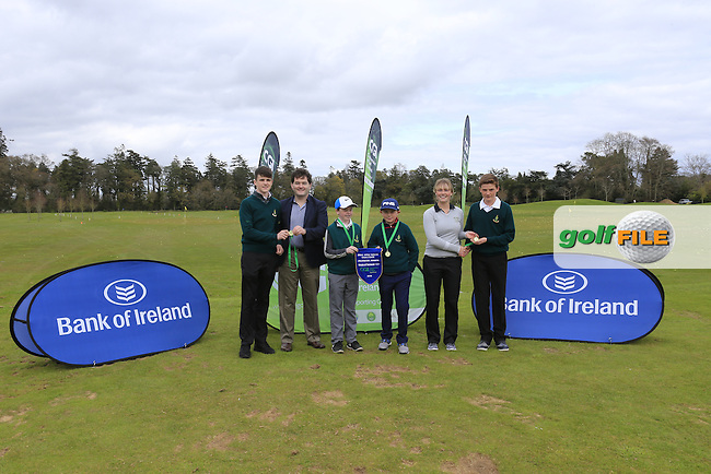 Gavin Kelly Bank Of Ireland and Kate Whyte CGI present Leinster regional finalist Newlands Golf Club with there medals and pendant at the national finals of the Dubai Duty Free Irish Open Skills Challenge supported by Bank of Ireland in conjunction with CGI at the GUI National Golf Academy, Carton House, Maynooth, Co Kildare. 24/04/2016.<br /> Picture: Golffile | Fran Caffrey<br /> <br /> <br /> All photo usage must carry mandatory copyright credit (&copy; Golffile | Fran Caffrey)