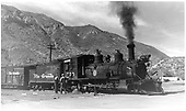 D&amp;RGW #375 in Durango with stock train.  Renumbered from D&amp;RGW #432.<br /> D&amp;RGW  Durango, CO  9/14/1946