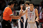 Caja Laboral Baskonia's Pau Ribas and the referee Daniel Herrezuelo during ACB Finals match. June 15,2010. (ALTERPHOTOS/Acero)