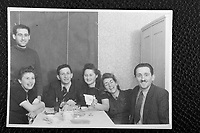 Seated (center) - Mendel Grossman and [maybe] Simon's Sister. To their left are Henryk Ross, Ghetto Photographer, and his wife, Stefania.<br /> <br /> https://en.wikipedia.org/wiki/Henryk_Ross<br /> <br /> http://agolodzghetto.com/