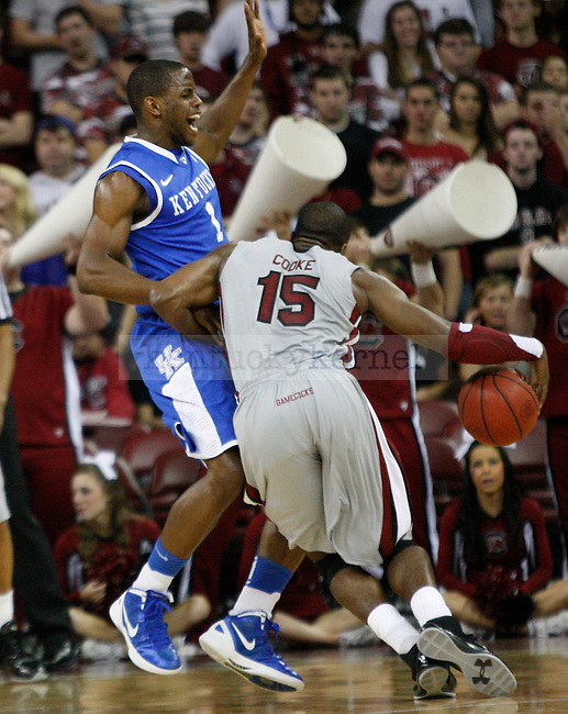 UK guard Darius Miller gurads South Carolina's Malik Cooke during the first half of the University of Kentucky Men's basketball game against University of South Carolina on 2/4/12 in Columbia, SC. Photo by Quianna Lige | Staff