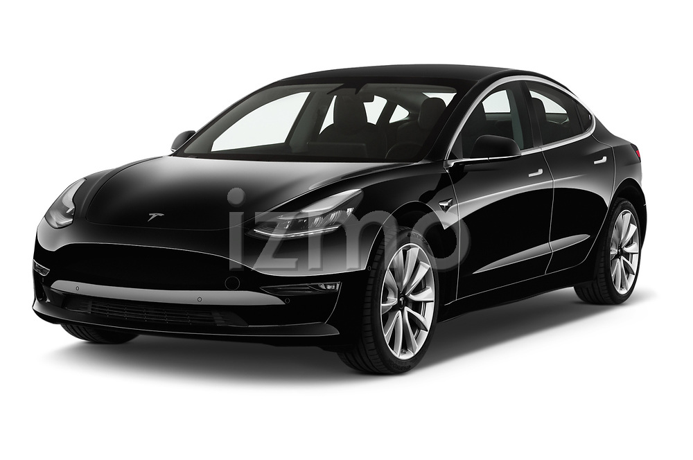 2019 Tesla Model-3 Performance 4 Door Sedan angular front stock photos of front three quarter view
