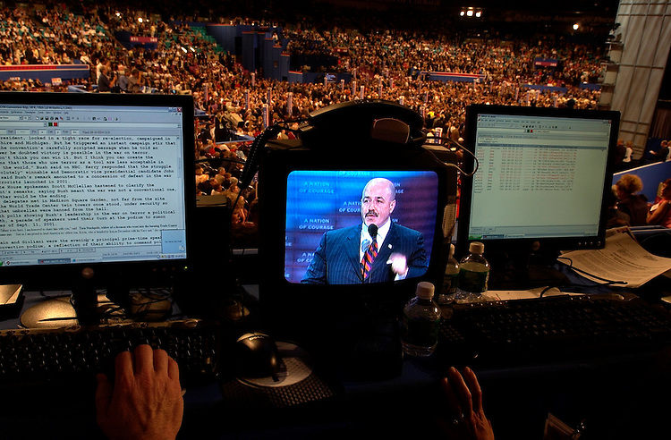 The former police chief of New York (CHECK NAME) appears on a reporter's televison on the floor of Madsion Square Garden at the Republican National Convention 2004, in New York.