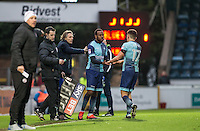 Myles Weston of Wycombe Wanderers replaces Luke O'Nien of Wycombe Wanderers during the Sky Bet League 2 match between Wycombe Wanderers and Crawley Town at Adams Park, High Wycombe, England on 25 February 2017. Photo by Andy Rowland / PRiME Media Images.