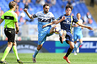 Milan Badelj of Lazio and Emanuel Vignato of AC Chievo Verona compete for the ball during the Serie A 2018/2019 football match between SS Lazio and AC Chievo Verona at stadio Olimpico, Roma, April, 20, 2019 <br /> Photo Antonietta Baldassarre / Insidefoto