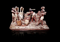 Ancient Egyptian wooden model of bread making, Middle Kingdom, (1939-1875 BC),  Egyptian Museum, Turin.   black background. <br /> <br /> Wooden tomb models were an Egyptian funerary custom throughout the Middle Kingdom in which wooden figurines and sets were constructed to be placed in the tombs of Egyptian royalty. These wooden models represented the work of servants, farmers, other skilled craftsman, armies, and religious rituals