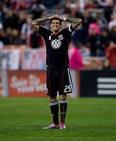 Santino Quaranta (25) of D.C. United grimaces after missing a shot late in the game at RFK Stadium in Washington, DC.  Toronto defeated D.C. United, 3-2.