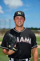 GCL Marlins pitcher Karl Craigie (34) poses for a photo after a game against the GCL Cardinals on August 4, 2018 at Roger Dean Chevrolet Stadium in Jupiter, Florida.  GCL Marlins defeated GCL Cardinals 6-3.  (Mike Janes/Four Seam Images)