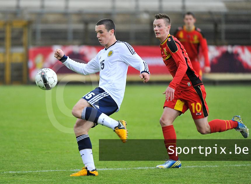 Scotland U19 - Belgium U19 : John Mcginn (15) and Rob Schoofs (10).foto DAVID CATRY / Nikonpro.be