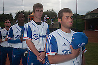 18 August 2010: Brice Lorienne, Simon Vicente, Jean Antonio Samer, Jorge Hereaud are seen during the national anthem prior to the France 7-3 win over Ukraine, at the 2010 European Championship, under 21, in Brno, Czech Republic.