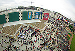 Fans gather in the left field and centerfield plazas at Nationals Park before the inaugural game on March 30, 2008.