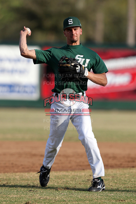 Stetson Hatters Nathan Cox #34 during a game vs Siena Saints at Melching Field in De Land, Florida;  March 16, 2011.  Stetson defeated Siena 5-1.  Photo By Mike Janes/Four Seam Images