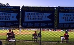 NAUGATUCK , CT-073120JS15—Peter J. Foley Cardinal. players keep socially distant outside the dugout as they took on the Union City Blue Jays in Little League action Friday at Peter J. Foley field in Naugatuck. <br /> Jim Shannon Republican-American