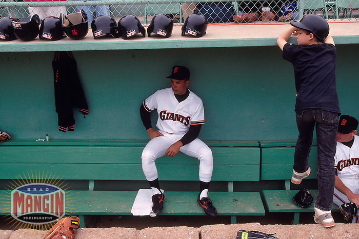 SCOTTSDALE, AZ - Darren Lewis of the San Francisco Giants sits in the dugout before a spring training game at Scottsdale Stadium in Scottsdale, Arizona in 1991. Photo by Brad Mangin