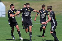 Max Batchelor celebrates his second goal during the ISPS Handa Premiership football match between Wellington Phoenix Reserves and Hawkes Bay United at Porirua Park in Wellington, New Zealand on Sunday, 17 March 2019. Photo: Dave Lintott / lintottphoto.co.nz