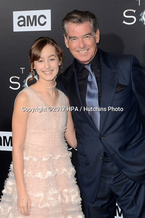 """LOS ANGELES - APR 3:  Sydney Lucas, Pierce Brosnan at the AMC's """"The Son"""" Season One LA Premiere at ArcLight Theater on April 3, 2017 in Los Angeles, CA"""