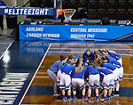 SIOUX FALLS, SD: MARCH 19:  The team from Lubbock Christian huddles during warmups before their game against Central Missouri at the 2018 Division II Women's Elite 8 Basketball Championship at the Sanford Pentagon in Sioux Falls, S.D. (Photo by Dick Carlson/Inertia)