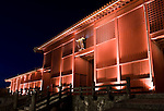 """Photo shows an illuminated Houshinmon Gate inside the grounds of Shuri-jo Castle in Naha, Okinawa Prefecture, Japan, on June 24, 2012. Houshomon is the final gate leading to the main """"Seiden"""" hall. Photographer: Robert Gilhooly"""