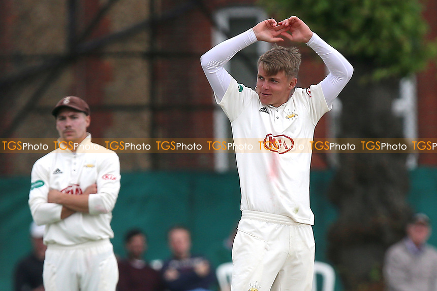 Sam Curran of Surrey reacts as he goes close to a wicket during Surrey CCC vs Essex CCC, Specsavers County Championship Division 1 Cricket at Guildford CC, The Sports Ground on 10th June 2017