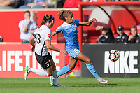 Bridgeview, IL - Sunday June 25, 2017: Erin Simon, Casey Short during a regular season National Women's Soccer League (NWSL) match between the Chicago Red Stars and Sky Blue FC at Toyota Park. The Red Stars won 2-1.