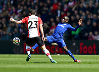 Chelsea's Ngolo Kante (right) battles with Southampton's Pierre-Emile Hojbjerg (left) <br /> <br /> Photographer David Horton/CameraSport<br /> <br /> The Premier League - Southampton v Chelsea - Saturday 14th April2018 - St Mary's Stadium - Southampton<br /> <br /> World Copyright &copy; 2018 CameraSport. All rights reserved. 43 Linden Ave. Countesthorpe. Leicester. England. LE8 5PG - Tel: +44 (0) 116 277 4147 - admin@camerasport.com - www.camerasport.com