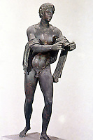 Greek Art:  Apollo--bronze sculpture.  National Museum, Naples.