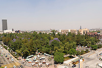 View of outdoor market and the Alameda Central park from above, Mexico City