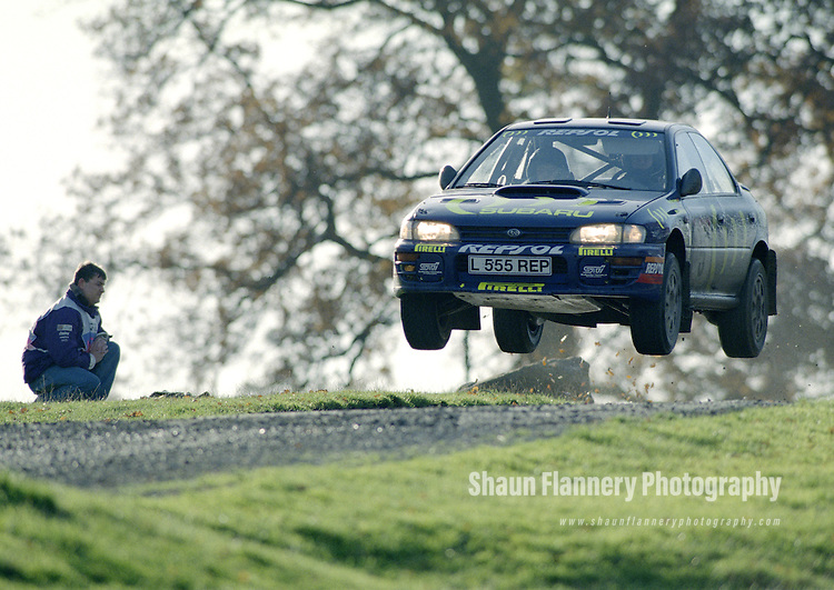 Pix: Shaun Flannery/shaunflanneryphotography.com...COPYRIGHT PICTURE>>SHAUN FLANNERY>01302-570814>>07778315553>>..1995 Network Q RAC Rally..19th November - 22nd November 1995..Carlos Sainz & Luis Moya, Subaru Impreza 555 .555 Subaru World Rally Team.