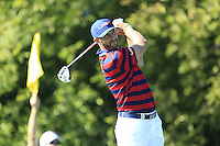 Dustin Johnson (Team USA) on the 10th tee during Saturday afternoon Fourball at the Ryder Cup, Hazeltine National Golf Club, Chaska, Minnesota, USA.  01/10/2016<br /> Picture: Golffile | Fran Caffrey<br /> <br /> <br /> All photo usage must carry mandatory copyright credit (&copy; Golffile | Fran Caffrey)