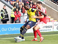 Oxford United's Shandon Baptiste shields the ball from Fleetwood Town's Lewis Coyle<br /> <br /> Photographer Rich Linley/CameraSport<br /> <br /> The EFL Sky Bet League One - Fleetwood Town v Oxford United - Saturday 7th September 2019 - Highbury Stadium - Fleetwood<br /> <br /> World Copyright © 2019 CameraSport. All rights reserved. 43 Linden Ave. Countesthorpe. Leicester. England. LE8 5PG - Tel: +44 (0) 116 277 4147 - admin@camerasport.com - www.camerasport.com