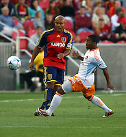 Robbie Russell, Corey Ashe in the Real Salt Lake v Houston 0-0 draw win at Rio Tinto Stadium in Sandy, Utah on August 15, 2009