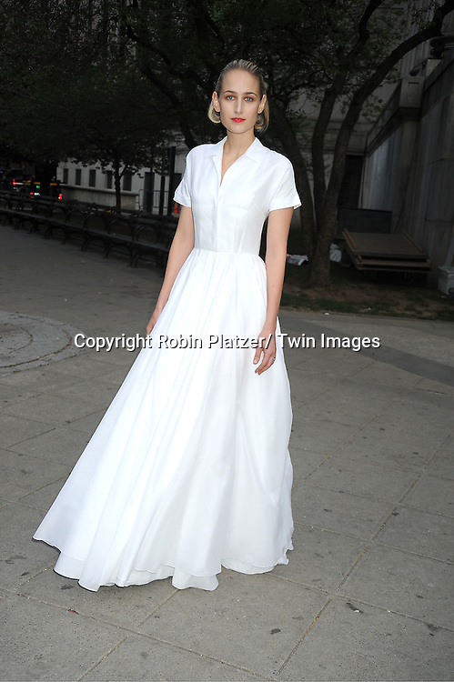actress Leelee Sobieski in a Jill Sanders white dress arrives at The Vanity Fair Tribeca Film Festival Party at The State Supreme Courthouse at 60 Centre Street on April 17, 2012 in New York City.