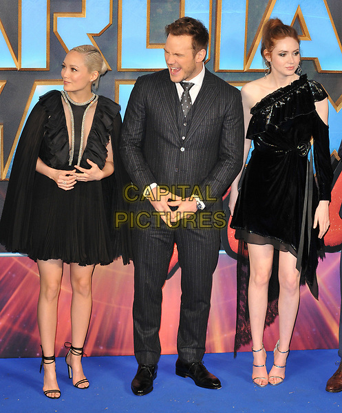 Pom Klementieff, Chris Pratt and Karen Gillan at the &quot;Guardians of The Galaxy Vol. 2&quot; European gala film premiere, Hammersmith Apollo (Eventim Apollo), Queen Caroline Street, London, England, UK, on Monday 24 April 2017.<br /> CAP/CAN<br /> &copy;CAN/Capital Pictures