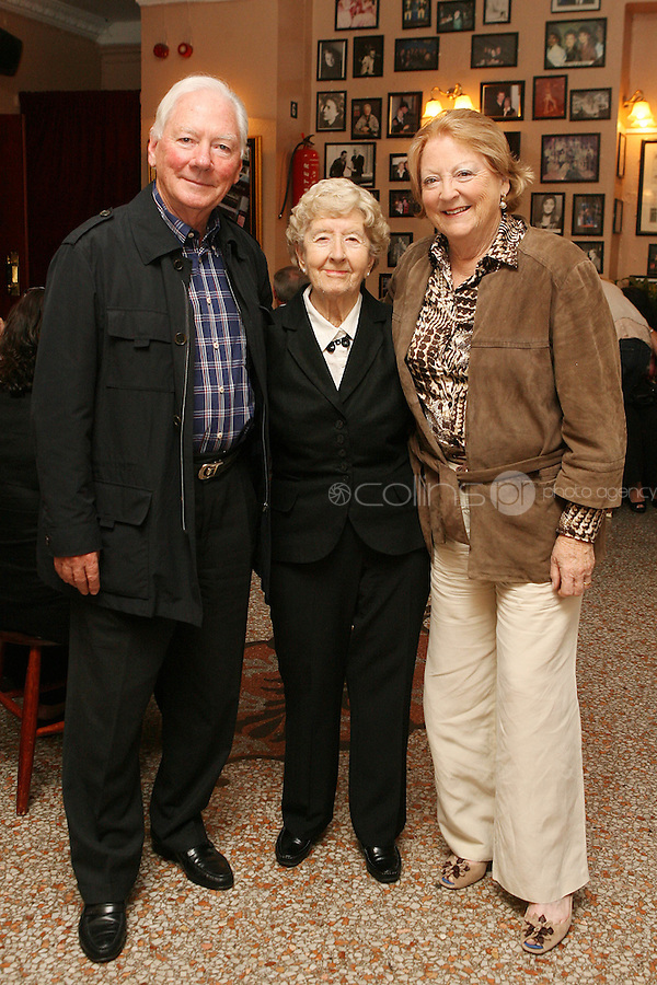 26/8/2010. NO REPRO FEE. Little Gem Opening night.  Gay Byrne and Kathleen Watkins are pictured with Maureen Grant (center) who is celebrating her 85th birthday and has been working at the Olympia for 62 years at the Olympia Theatre Dublin for the opening night of Little Gem. Hilda Fay makes her return as Lorraine, Anita Reeves continues in the role of Kay, and Genevieve Hulme-Beaman takes on the role of Amber. After sell-out seasons in New York, London and Paris and a sold-out 7-week run at Ireland's National Theatre, Gúna Nua is bringing its bittersweet comedy Little Gem back to Dublin for 10 shows only at The Olympia Theatre from August 26 to September 4, 2010. Love, sex, birth, death, dildos and salsa classes: Elaine Murphy's award winning Little Gem sees three generations of Dublin women on a wild and constantly surprising journey. Picture James Horan/Collins Photos